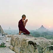 Myanmar, Bagan, Buddhist Monk Praying Poster