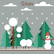 Nature, Winter Landscape With Christmas Poster