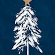 Navy And White Christmas Tree 2- Art By Linda Woods Poster