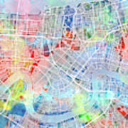 New Orleans Map Watercolor Poster