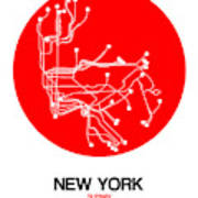 New York Red Subway Map Poster