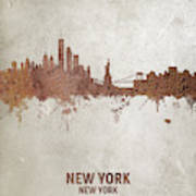 New York Rust Skyline Poster