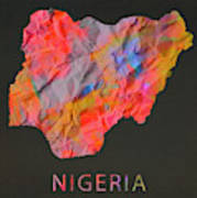 Nigeria Tie Dye Country Map Poster