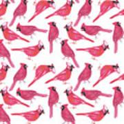 Northern Cardinal Or Cardinalis Cardinalis Watercolor Birds Painting Poster