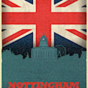 Nottingham England City Skyline Flag Poster