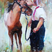 Oil Painting Of Little Girl Petting Her Poster