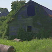 Old Barn And Hay Bales 2 Poster