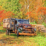 Old Farm Truck Fall Foliage Vermont Square Poster
