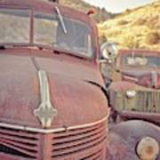 Old Friends Two Rusty Vintage Cars Jerome Arizona Poster