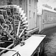 Old Water Wheel Certovka Canal Prague Black And White Poster