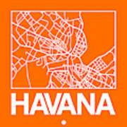 Orange Map Of Havana Poster