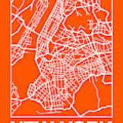 Orange Map Of New York Poster