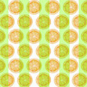 Orange Slice Pattern 2 - Tropical Pattern - Tropical Print - Lemon - Orange - Fruit - Tangerine Poster
