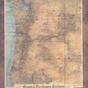 Oregon Washington Historic Map Colton Sepia Map Hand Painted Poster