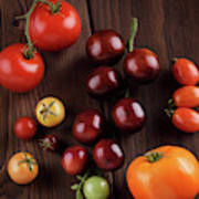 Organic Heirloom Tomatoes Of A Variety Of Sizes And Colors Food