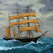 Original Artwork, Clipper Ships At Sea Poster