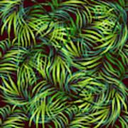 Palm Leaf Pattern 2 - Tropical Leaf Pattern - Green, Black - Tropical, Botanical Pattern Design Poster