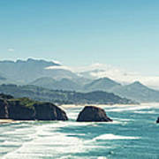 Panoramic Shot Of Cannon Beach, Oregon Poster
