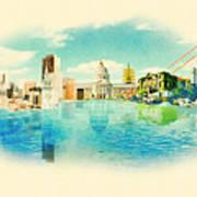 Panoramic Water Color Illustration San Poster
