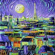 Paris Purple Night - Textural Impressionist Stylized Cityscape Mona Edulesco Poster
