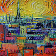 Paris Rooftops View From Centre Pompidou - Textural Impressionist Stylized Cityscape Mona Edulesco Poster
