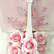 Paris Shabby Chic Pink White Roses Eiffel Tower Baby Girl Nursery Decor - Paris Pink Roses Poster