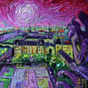 Paris View With Gargoyles Diptych Oil Painting Right Panel Poster