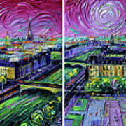 Paris View With Gargoyles - Textural Impressionist Diptych Oil Painting Mona Edulesco   Poster
