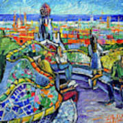 Park Guell Enchanted Visitors - Impasto Palette Knife Stylized Cityscape Poster