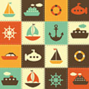 Patchwork Background With Sea Transport Poster