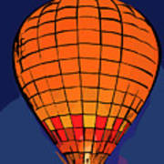 Peach Hot Air Balloon Night Glow In Abstract Poster