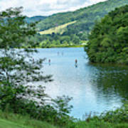 People Use Stand-up Paddleboards On Lake Habeeb At Rocky Gap Sta Poster
