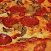 Pepperoni Pizza Mushrooms Poster