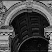 Philadelphia City Hall Fresco In Black And White Poster