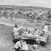 Picnicking Family Greets Tour De France Poster