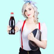Pin-up Girl Holding Soft Drink Bottle Poster