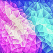 Pink Ice Blue  Abstract Polygon Crystal Cubism Low Poly Triangle Design Poster
