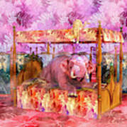 Pink Laughing Elephant Poster
