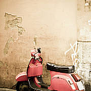 Pink Scooter And Roman Wall, Rome Italy Poster