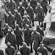 Pit 1 Of Terra Cotta Warriors In Black And White Poster