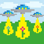 Pixel Vector Landscape With Ufo Poster