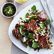 Plate With Lamb Cutlets And Mint Poster