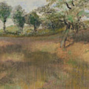 Ploughed Field Bordered By Trees Poster