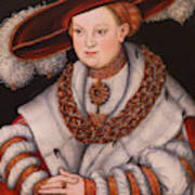 Portrait Of Magdalena Of Saxony, Wife Of Elector Koachim II Poster