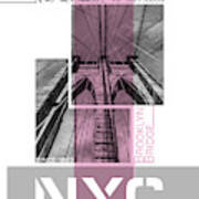 Poster Art Nyc Brooklyn Bridge Details - Pink Poster