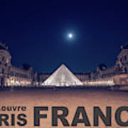 Poster Of  The Louvre Museum At Night With Moon Above The Pyrami Poster