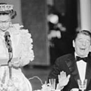 President Reagan Laughing At Queens Poster