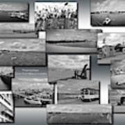 Provincetown Cape Cod Massachusetts Collage Bw 02 Poster