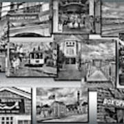 Provincetown Cape Cod Massachusetts Collage Pa Bw Poster