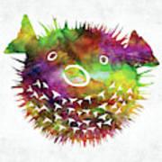 Puffer Fish Face Watercolor Poster